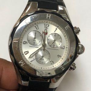Michele Tahitian Black & Silver Watch